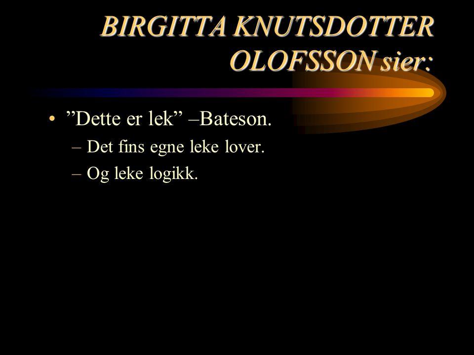 """BIRGITTA KNUTSDOTTER OLOFSSON sier: """"Dette er lek"""" –Bateson. –Det fins egne leke lover. –Og leke logikk."""