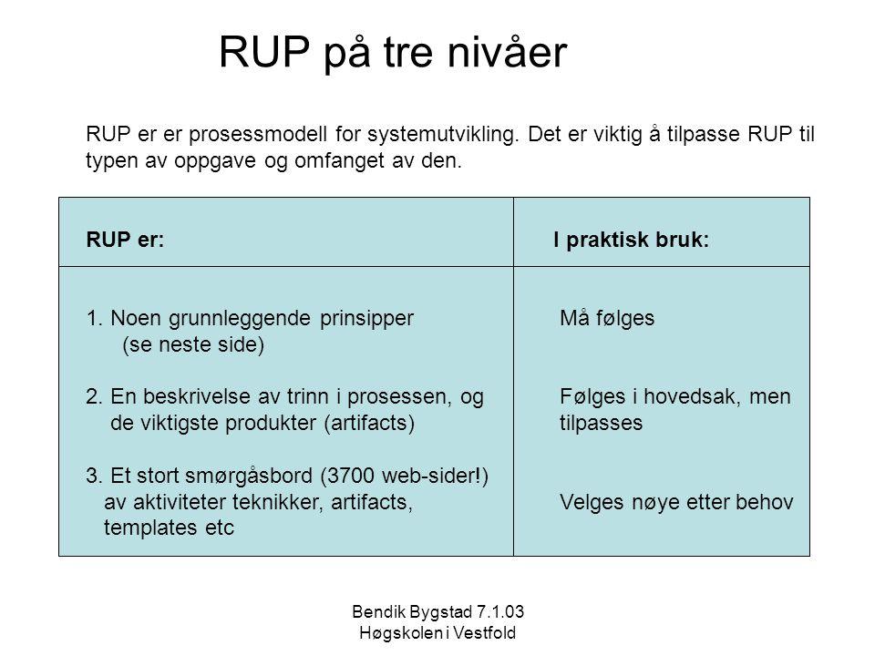 Bendik Bygstad 7.1.03 Høgskolen i Vestfold RUP på tre nivåer RUP er er prosessmodell for systemutvikling. Det er viktig å tilpasse RUP til typen av op