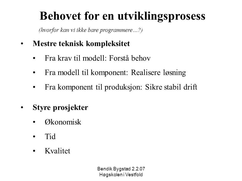 Bendik Bygstad 2.2.07 Høgskolen i Vestfold Behovet for en utviklingsprosess (hvorfor kan vi ikke bare programmere…?) Mestre teknisk kompleksitet Fra k