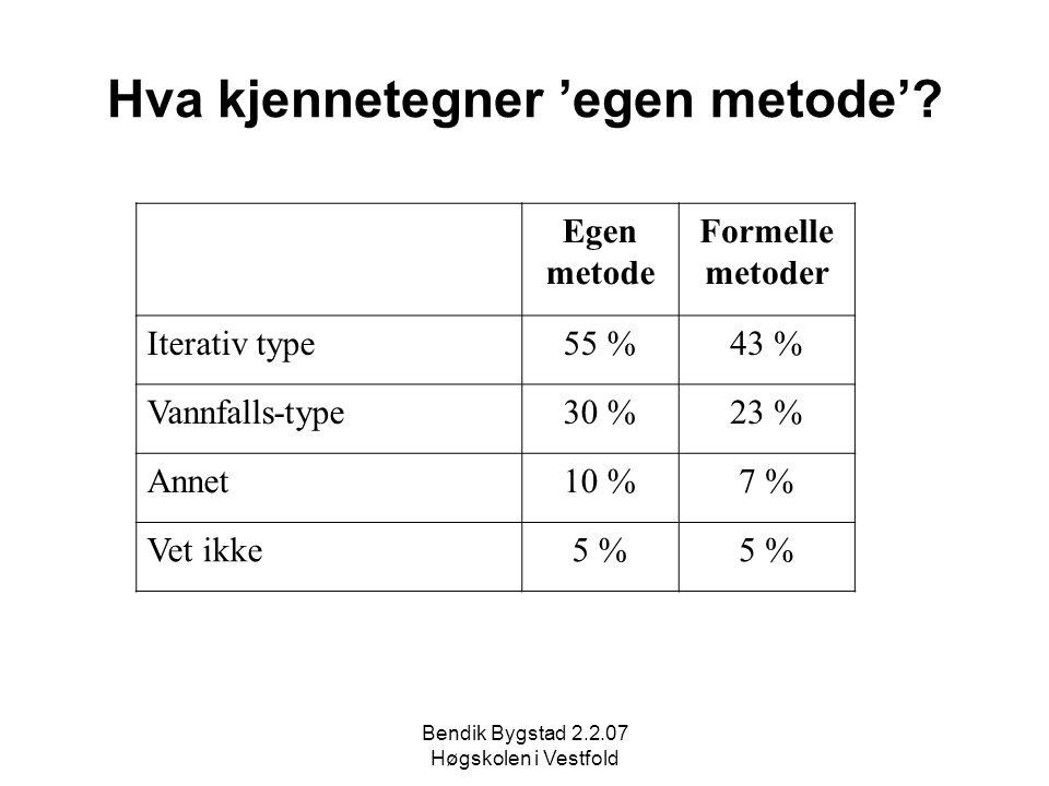 Bendik Bygstad 2.2.07 Høgskolen i Vestfold Hva kjennetegner 'egen metode'? Egen metode Formelle metoder Iterativ type55 %43 % Vannfalls-type30 %23 % A