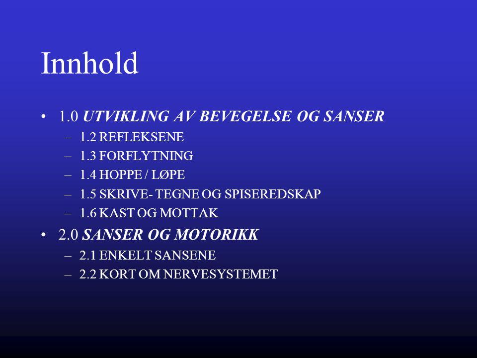 Innhold 1.0 UTVIKLING AV BEVEGELSE OG SANSER –1.2 REFLEKSENE –1.3 FORFLYTNING –1.4 HOPPE / LØPE –1.5 SKRIVE- TEGNE OG SPISEREDSKAP –1.6 KAST OG MOTTAK