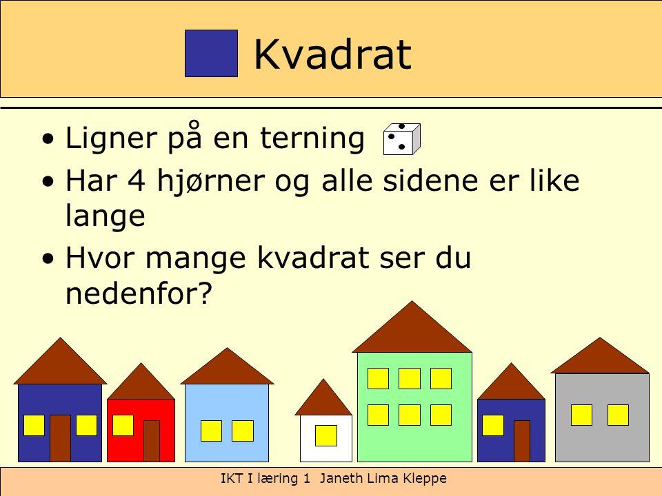 IKT I læring 1 Janeth Lima Kleppe Kvadrat Ligner på en terning Har 4 hjørner og alle sidene er like lange Hvor mange kvadrat ser du nedenfor?