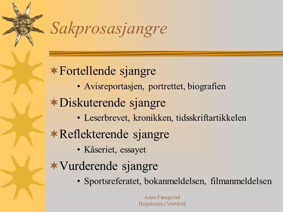 Anne Fængsrud Høgskolen i Vestfold Sakprosasjangre  Fortellende sjangre Avisreportasjen, portrettet, biografien  Diskuterende sjangre Leserbrevet, k
