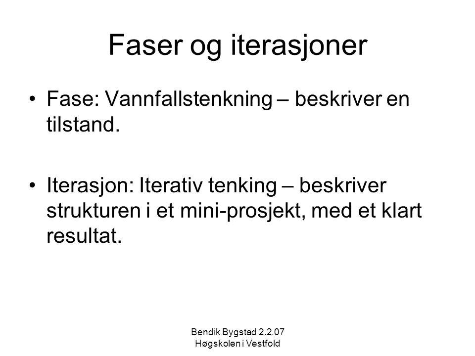 Bendik Bygstad 2.2.07 Høgskolen i Vestfold Faser og iterasjoner Fase: Vannfallstenkning – beskriver en tilstand. Iterasjon: Iterativ tenking – beskriv