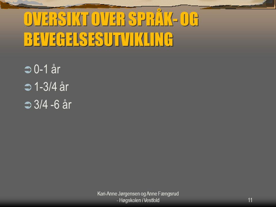 Kari-Anne Jørgensen og Anne Fængsrud - Høgskolen i Vestfold11 OVERSIKT OVER SPRÅK- OG BEVEGELSESUTVIKLING  0-1 år  1-3/4 år  3/4 -6 år