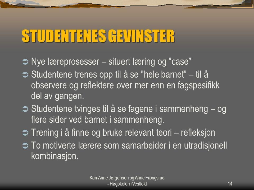 """Kari-Anne Jørgensen og Anne Fængsrud - Høgskolen i Vestfold14 STUDENTENES GEVINSTER  Nye læreprosesser – situert læring og """"case""""  Studentene trenes"""