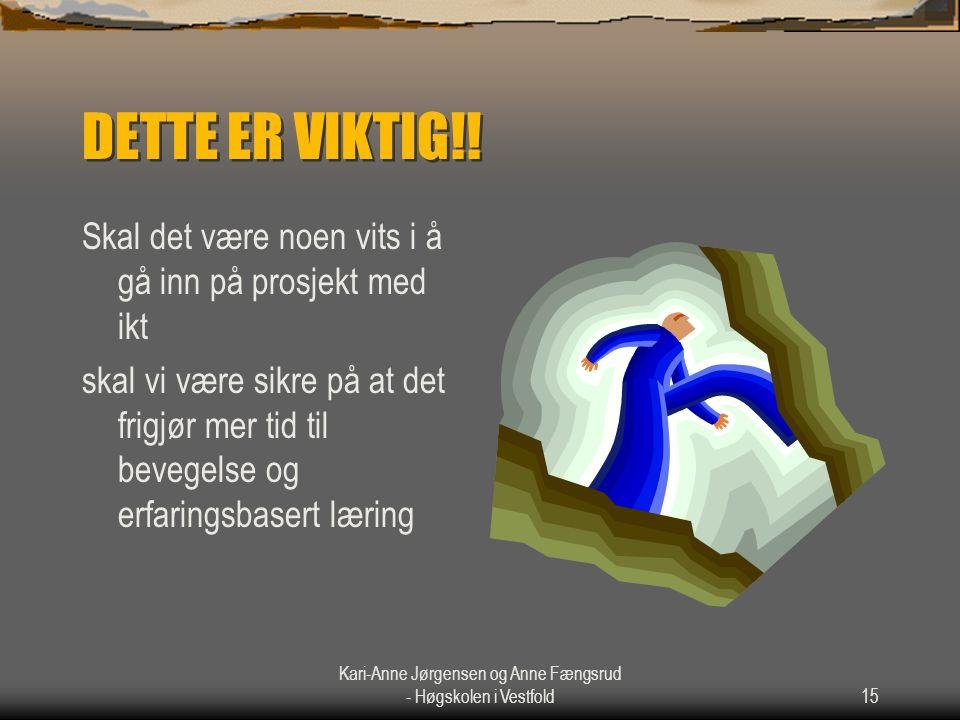 Kari-Anne Jørgensen og Anne Fængsrud - Høgskolen i Vestfold15 DETTE ER VIKTIG!! Skal det være noen vits i å gå inn på prosjekt med ikt skal vi være si