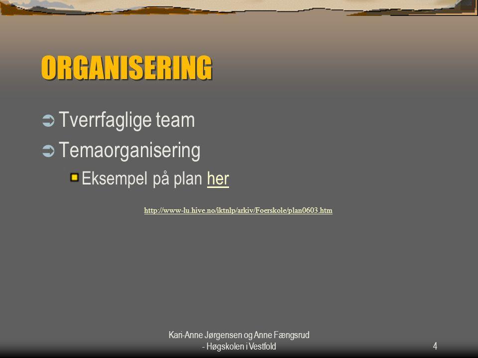 Kari-Anne Jørgensen og Anne Fængsrud - Høgskolen i Vestfold4 ORGANISERING  Tverrfaglige team  Temaorganisering Eksempel på plan herher http://www-lu