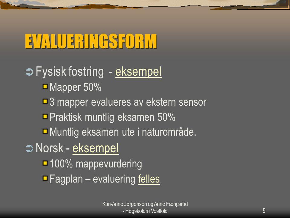 Kari-Anne Jørgensen og Anne Fængsrud - Høgskolen i Vestfold5 EVALUERINGSFORM  Fysisk fostring - eksempeleksempel Mapper 50% 3 mapper evalueres av eks