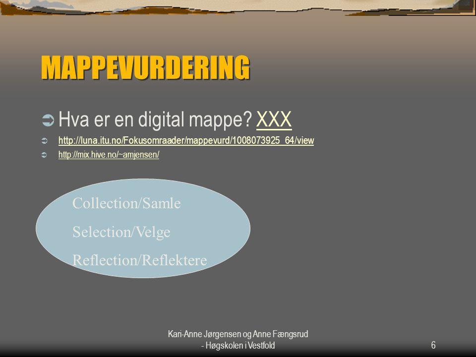Kari-Anne Jørgensen og Anne Fængsrud - Høgskolen i Vestfold6 MAPPEVURDERING  Hva er en digital mappe? XXXXXX  http://luna.itu.no/Fokusomraader/mappe
