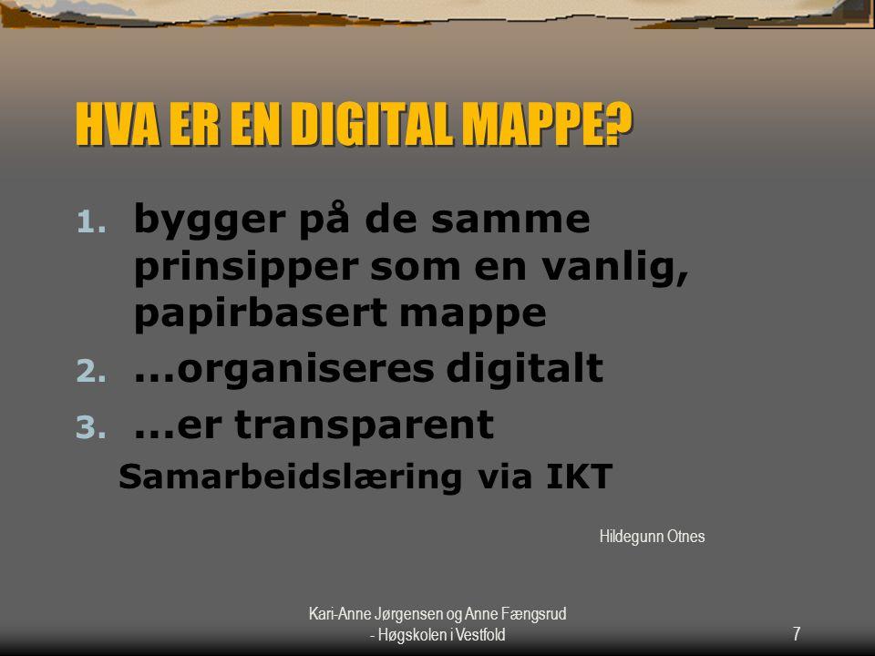 Kari-Anne Jørgensen og Anne Fængsrud - Høgskolen i Vestfold7 HVA ER EN DIGITAL MAPPE? 1. bygger på de samme prinsipper som en vanlig, papirbasert mapp