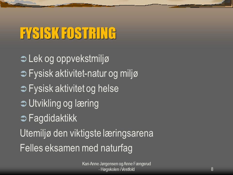 Kari-Anne Jørgensen og Anne Fængsrud - Høgskolen i Vestfold8 FYSISK FOSTRING  Lek og oppvekstmiljø  Fysisk aktivitet-natur og miljø  Fysisk aktivit