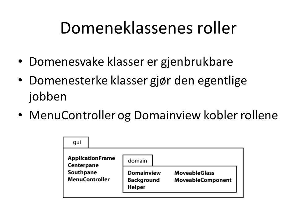 Domeneklassenes roller Domenesvake klasser er gjenbrukbare Domenesterke klasser gjør den egentlige jobben MenuController og Domainview kobler rollene