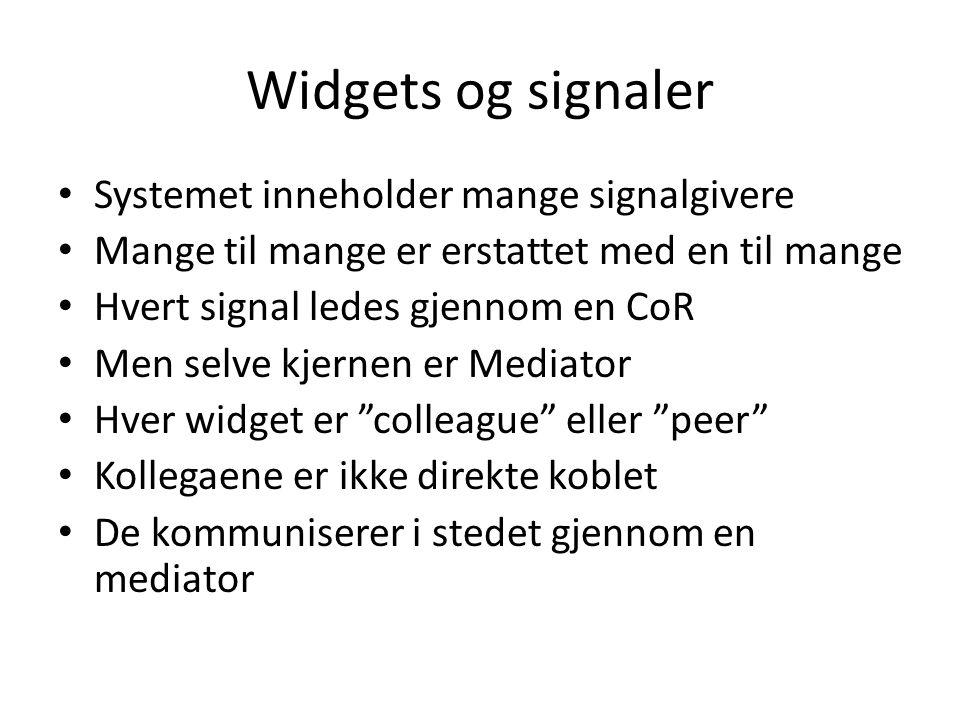 Widgets og signaler Systemet inneholder mange signalgivere Mange til mange er erstattet med en til mange Hvert signal ledes gjennom en CoR Men selve kjernen er Mediator Hver widget er colleague eller peer Kollegaene er ikke direkte koblet De kommuniserer i stedet gjennom en mediator