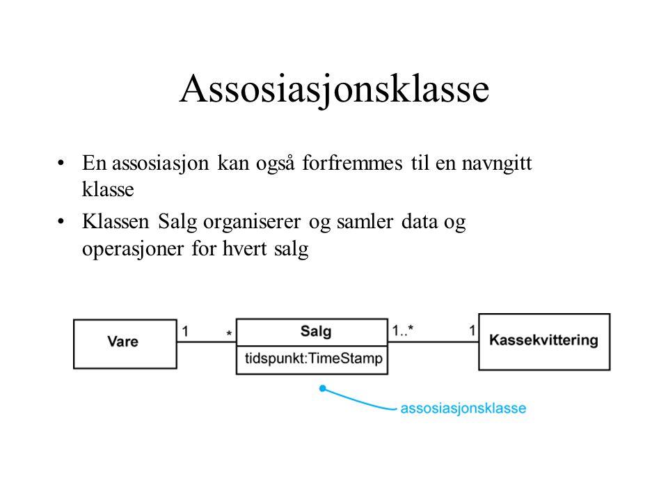 Assosiasjonsklasse En assosiasjon kan også forfremmes til en navngitt klasse Klassen Salg organiserer og samler data og operasjoner for hvert salg