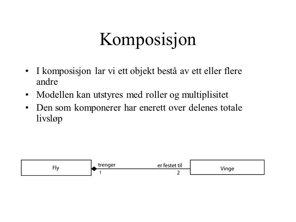 Komposisjon I komposisjon lar vi ett objekt bestå av ett eller flere andre Modellen kan utstyres med roller og multiplisitet Den som komponerer har enerett over delenes totale livsløp