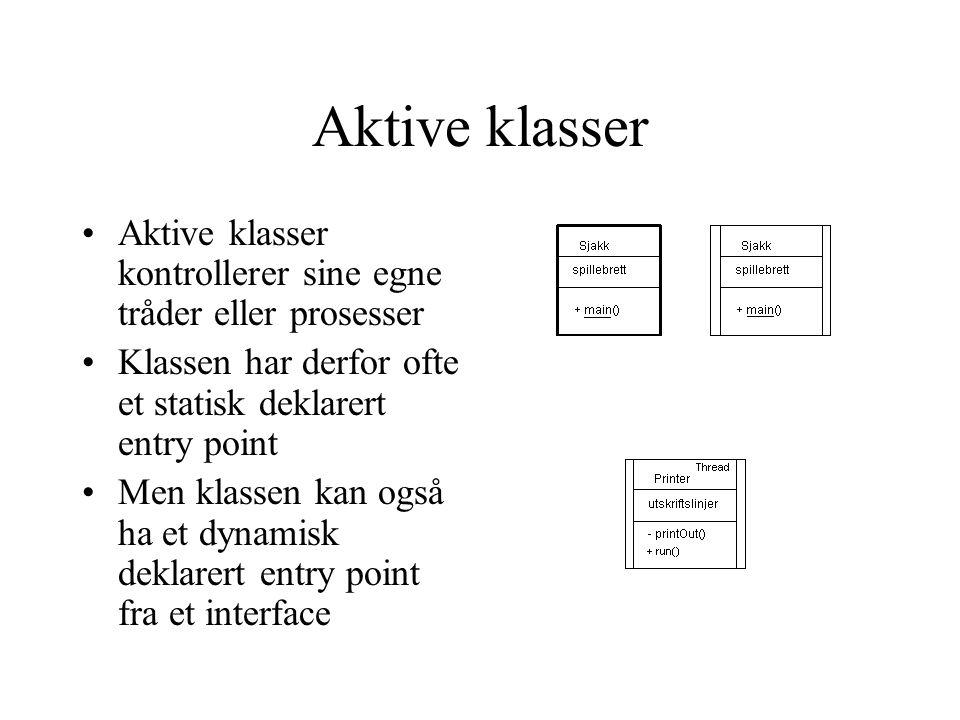 Aktive klasser Aktive klasser kontrollerer sine egne tråder eller prosesser Klassen har derfor ofte et statisk deklarert entry point Men klassen kan o