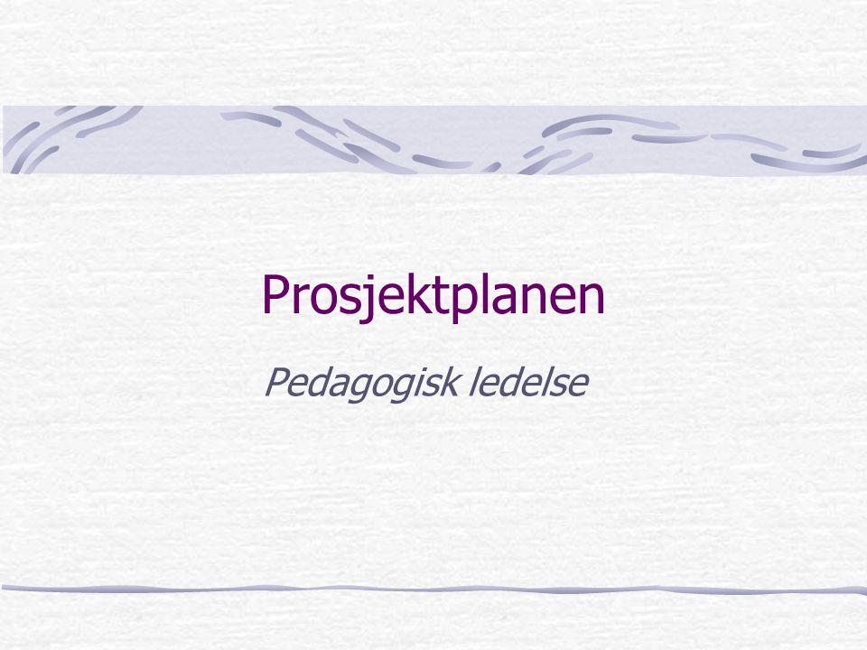 Prosjektplanen Tittel Innledning/bakgrunn Rammebetingelser – forankring i strategiplan, årsplan, andre styringsdok.
