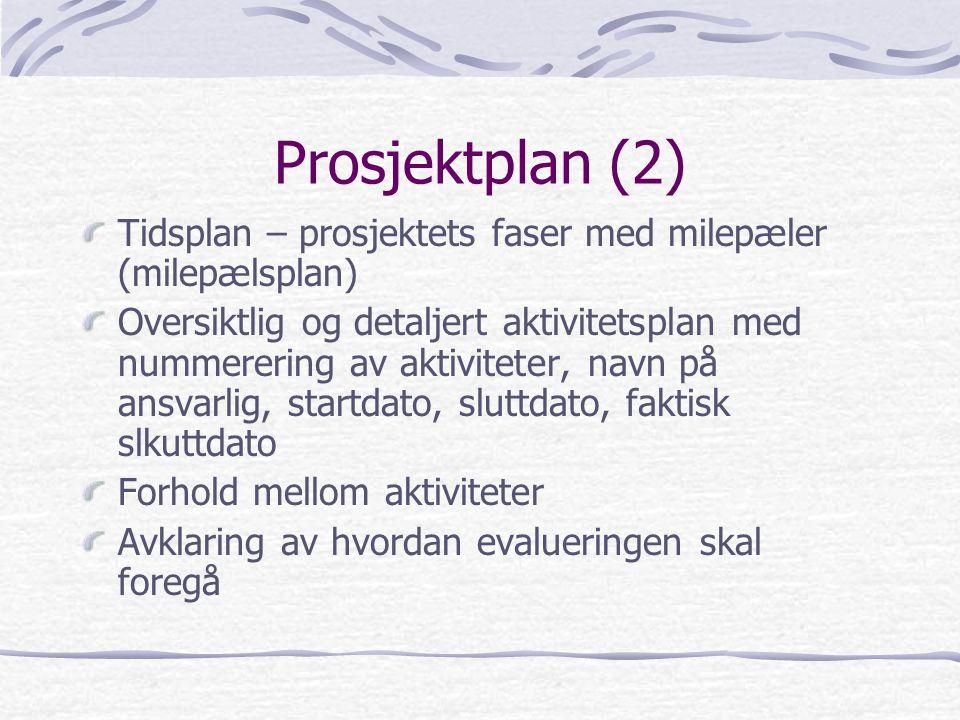 Prosjektplan (2) Tidsplan – prosjektets faser med milepæler (milepælsplan) Oversiktlig og detaljert aktivitetsplan med nummerering av aktiviteter, nav