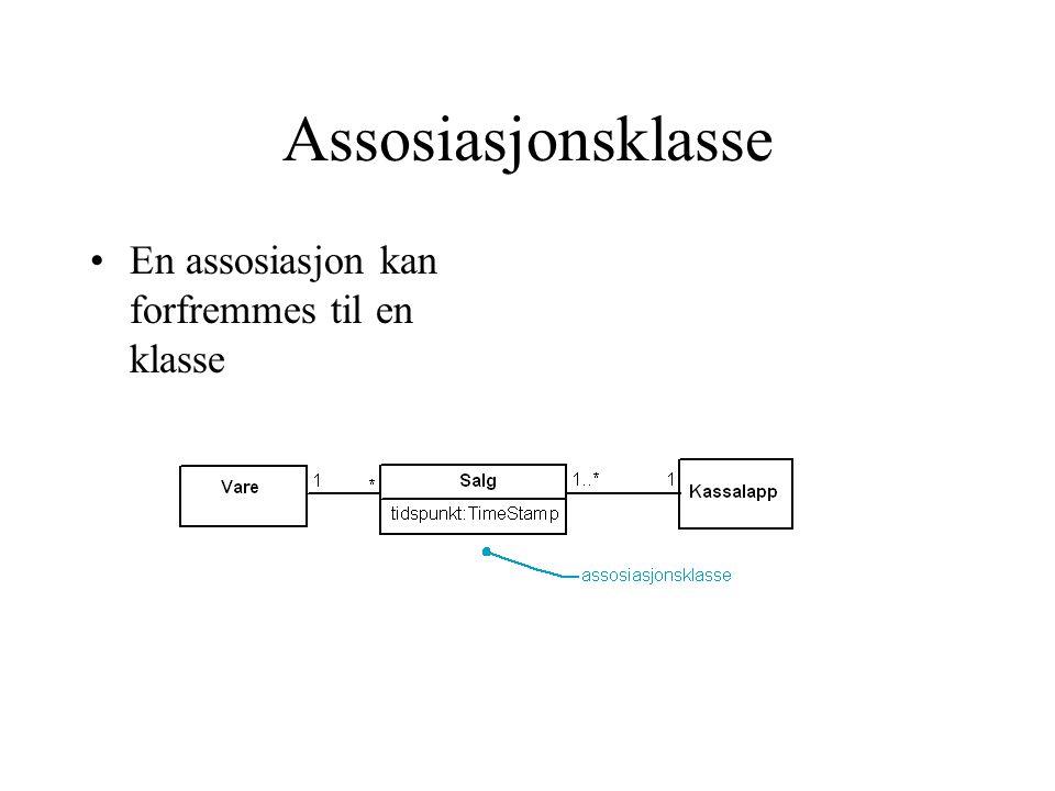 Assosiasjonsklasse En assosiasjon kan forfremmes til en klasse
