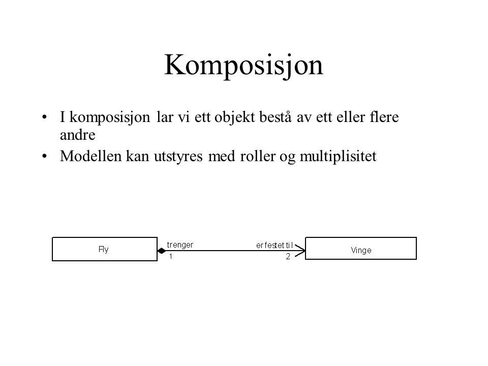 Komposisjon I komposisjon lar vi ett objekt bestå av ett eller flere andre Modellen kan utstyres med roller og multiplisitet