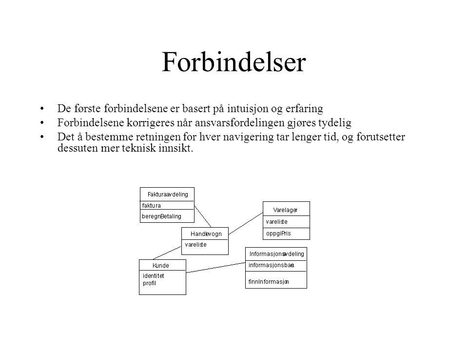 Forbindelser De første forbindelsene er basert på intuisjon og erfaring Forbindelsene korrigeres når ansvarsfordelingen gjøres tydelig Det å bestemme