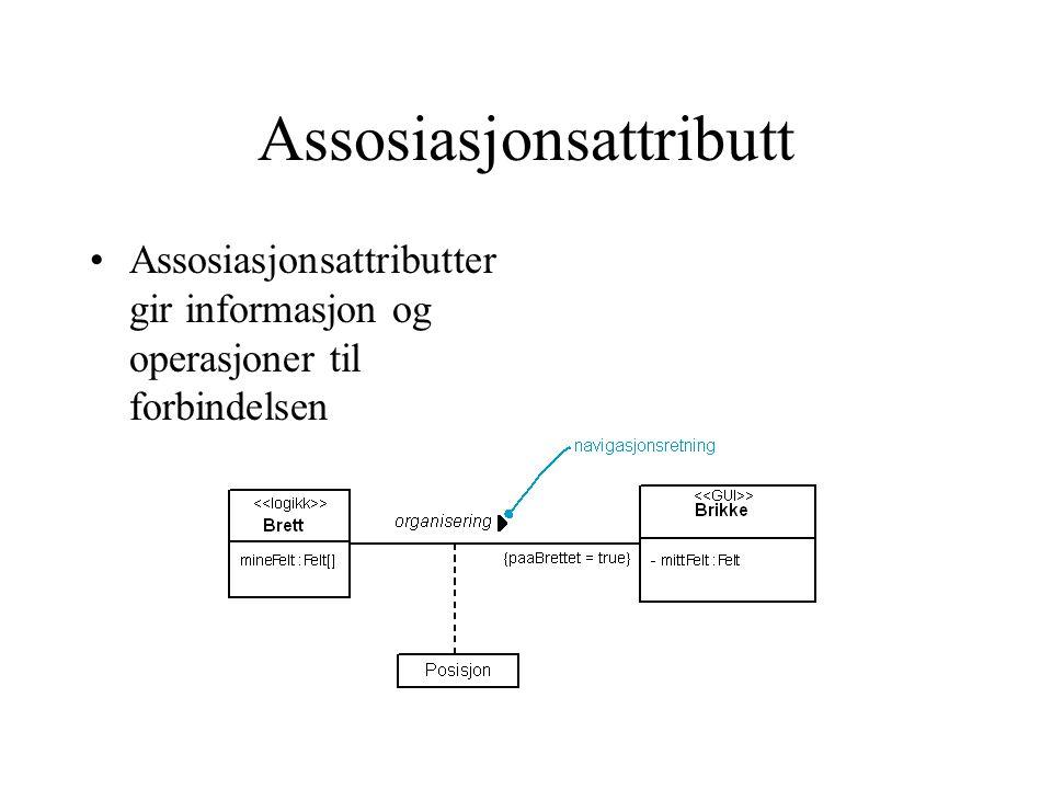 Assosiasjonsattributt Assosiasjonsattributter gir informasjon og operasjoner til forbindelsen