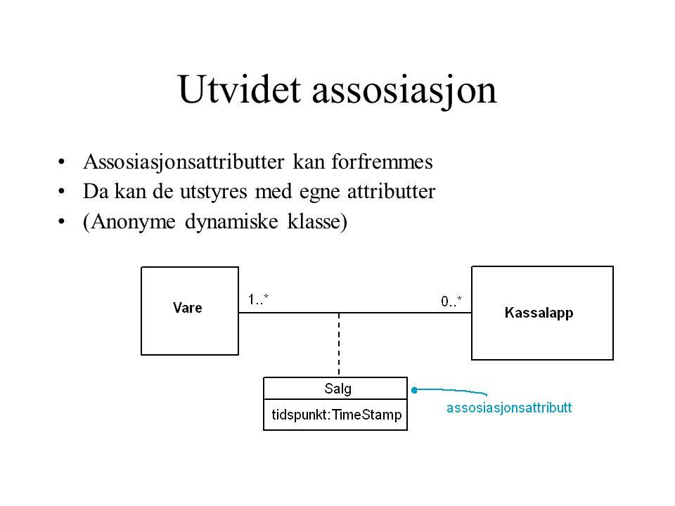 Utvidet assosiasjon Assosiasjonsattributter kan forfremmes Da kan de utstyres med egne attributter (Anonyme dynamiske klasse)