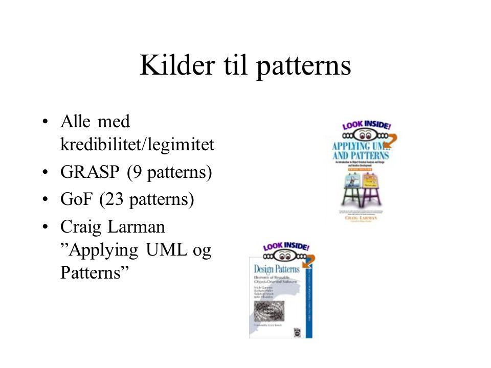 Beskrivelser Patterns må beskrives etter en mal Beskrivelsene inneholder ofte UML Minstekrav (klikk)klikk GoF form (klikk)klikk