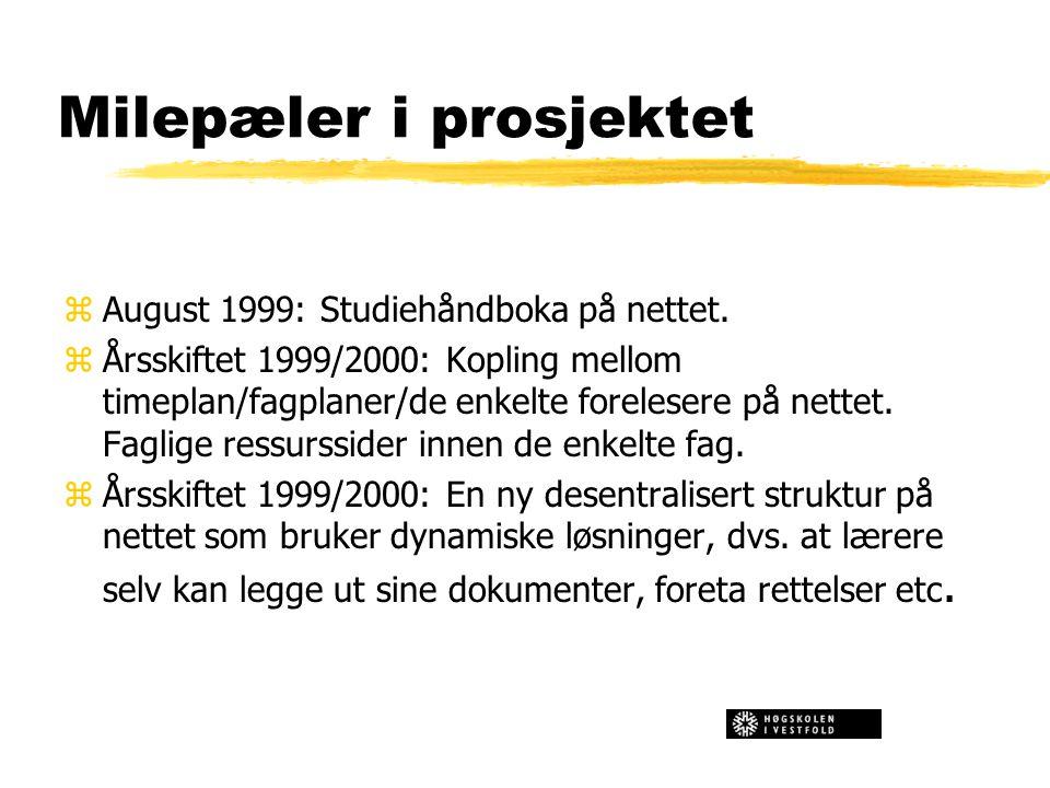Milepæler i prosjektet zAugust 1999: Studiehåndboka på nettet. zÅrsskiftet 1999/2000: Kopling mellom timeplan/fagplaner/de enkelte forelesere på nette
