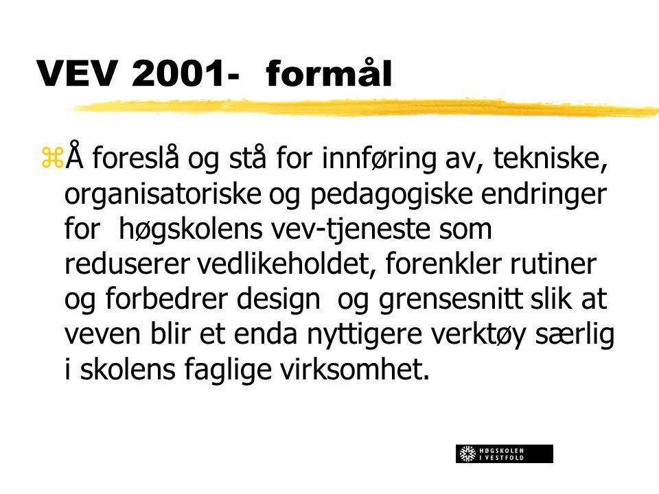 VEV 2001- formål zÅ foreslå og stå for innføring av, tekniske, organisatoriske og pedagogiske endringer for høgskolens vev-tjeneste som reduserer vedlikeholdet, forenkler rutiner og forbedrer design og grensesnitt slik at veven blir et enda nyttigere verktøy særlig i skolens faglige virksomhet.