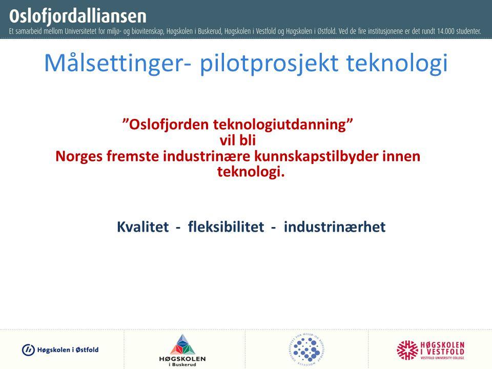 Målsettinger- pilotprosjekt teknologi Oslofjorden teknologiutdanning vil bli Norges fremste industrinære kunnskapstilbyder innen teknologi.