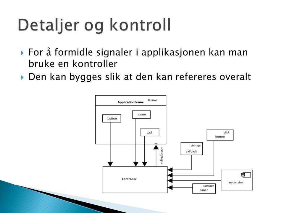  For å formidle signaler i applikasjonen kan man bruke en kontroller  Den kan bygges slik at den kan refereres overalt