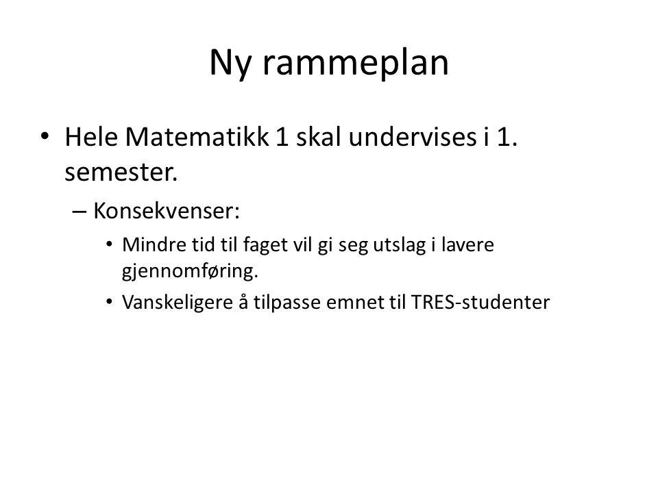 Ny rammeplan Hele Matematikk 1 skal undervises i 1.