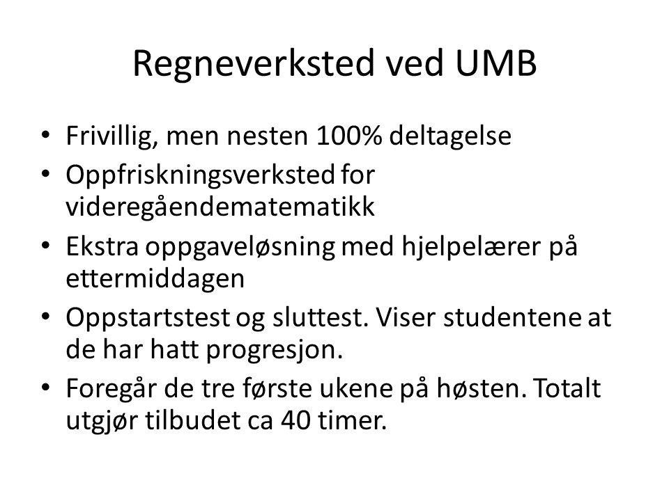 Regneverksted ved UMB Frivillig, men nesten 100% deltagelse Oppfriskningsverksted for videregåendematematikk Ekstra oppgaveløsning med hjelpelærer på ettermiddagen Oppstartstest og sluttest.