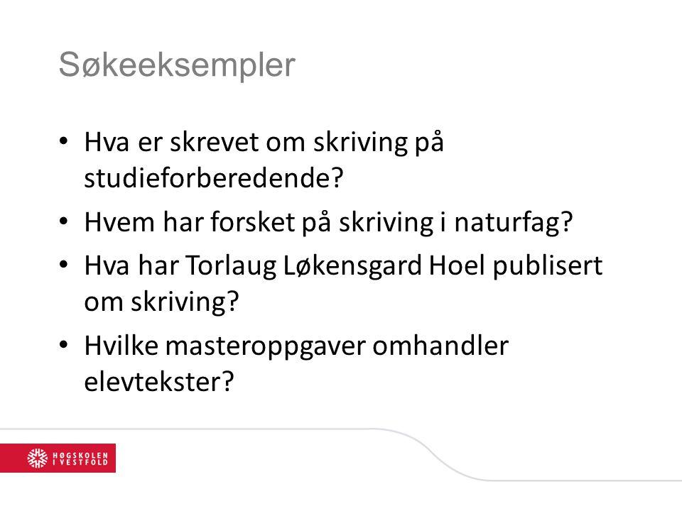 Alternativ 1: søkeboks Velg forfatter under søkeboksen og skriv navnet i søkeboksen.