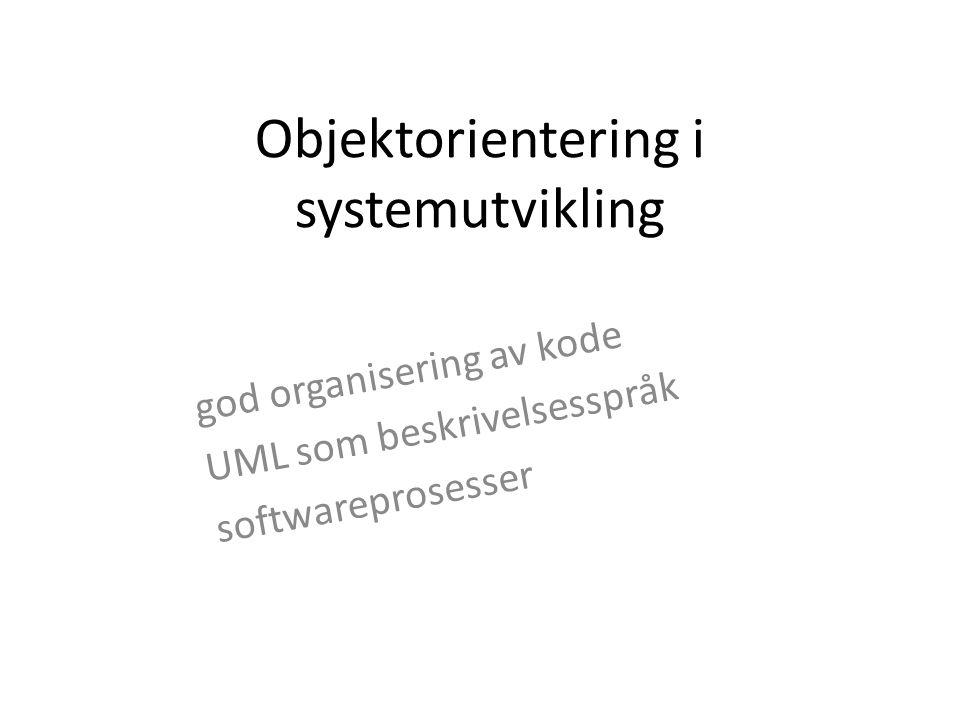 Objektorientering i systemutvikling god organisering av kode UML som beskrivelsesspråk softwareprosesser