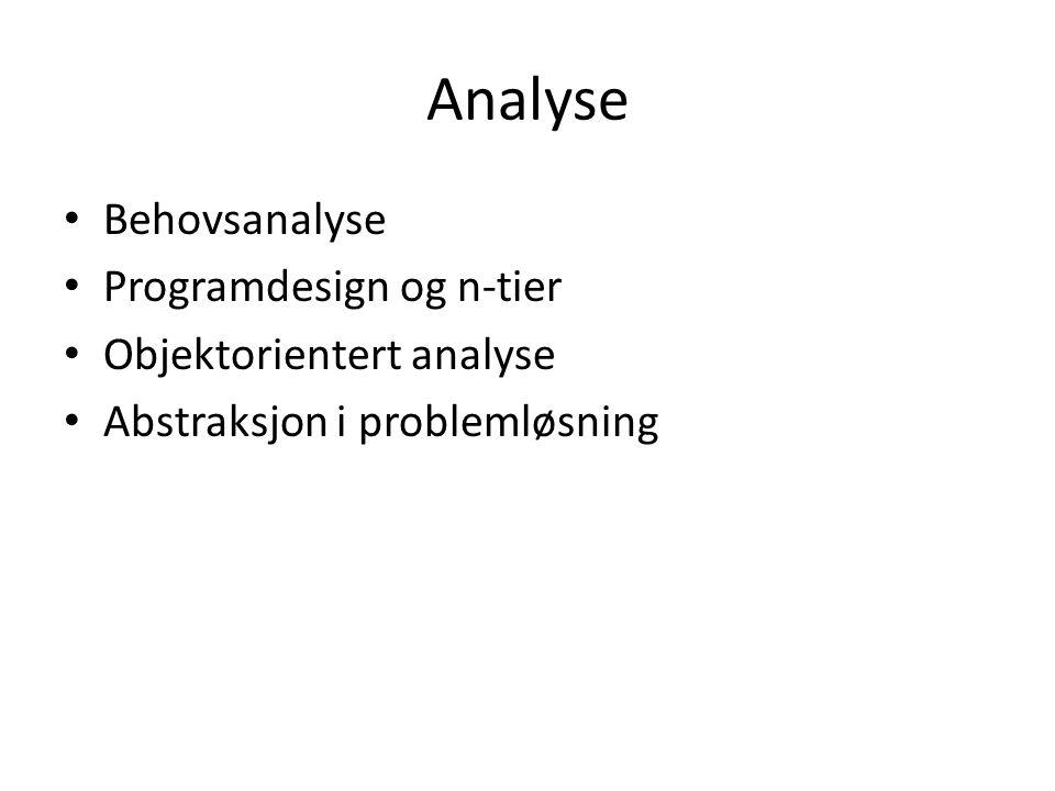 Analyse Behovsanalyse Programdesign og n-tier Objektorientert analyse Abstraksjon i problemløsning