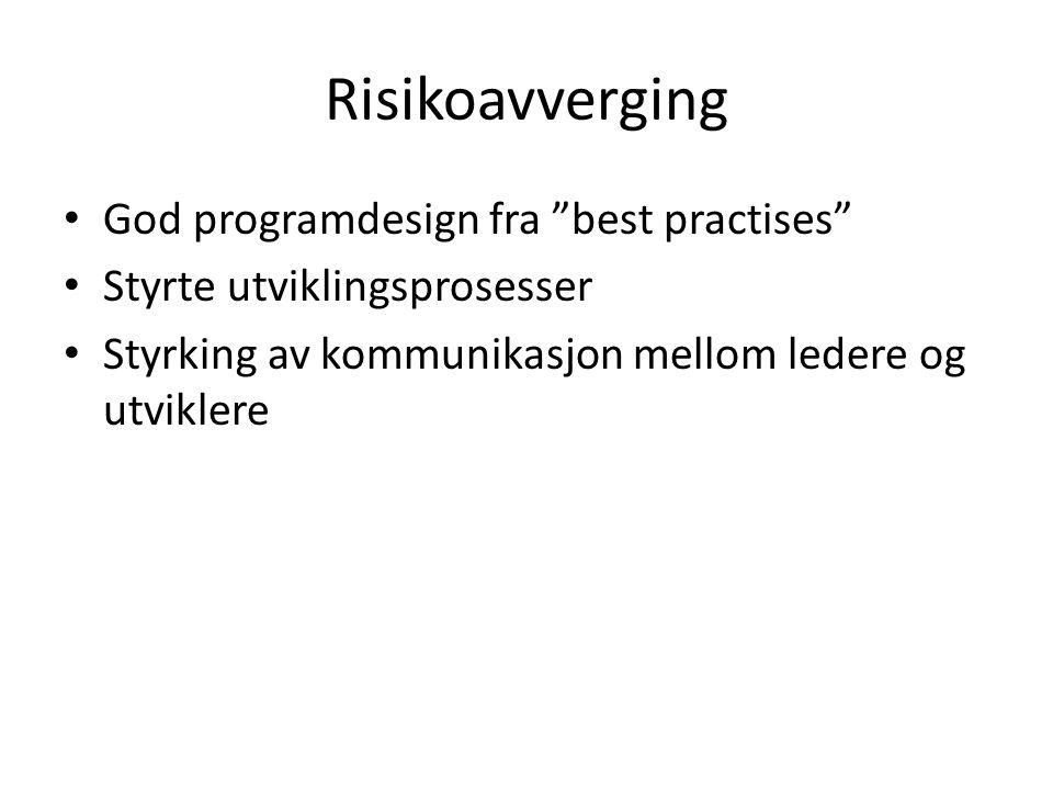 Risikoavverging God programdesign fra best practises Styrte utviklingsprosesser Styrking av kommunikasjon mellom ledere og utviklere