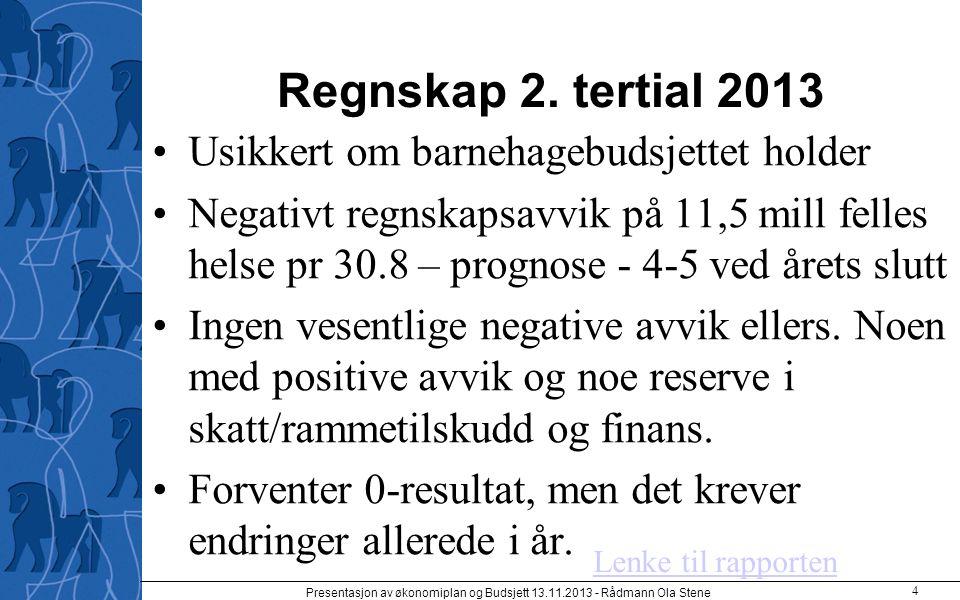 Regnskap 2. tertial 2013 Usikkert om barnehagebudsjettet holder Negativt regnskapsavvik på 11,5 mill felles helse pr 30.8 – prognose - 4-5 ved årets s