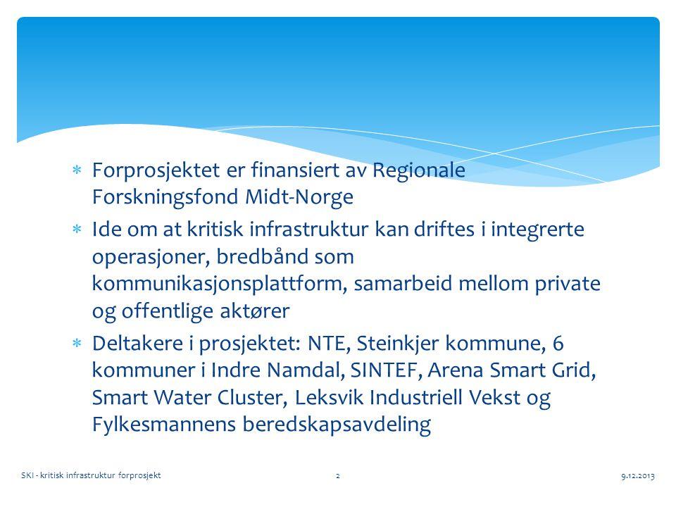  Forprosjektet er finansiert av Regionale Forskningsfond Midt-Norge  Ide om at kritisk infrastruktur kan driftes i integrerte operasjoner, bredbånd som kommunikasjonsplattform, samarbeid mellom private og offentlige aktører  Deltakere i prosjektet: NTE, Steinkjer kommune, 6 kommuner i Indre Namdal, SINTEF, Arena Smart Grid, Smart Water Cluster, Leksvik Industriell Vekst og Fylkesmannens beredskapsavdeling SKI - kritisk infrastruktur forprosjekt9.12.20132