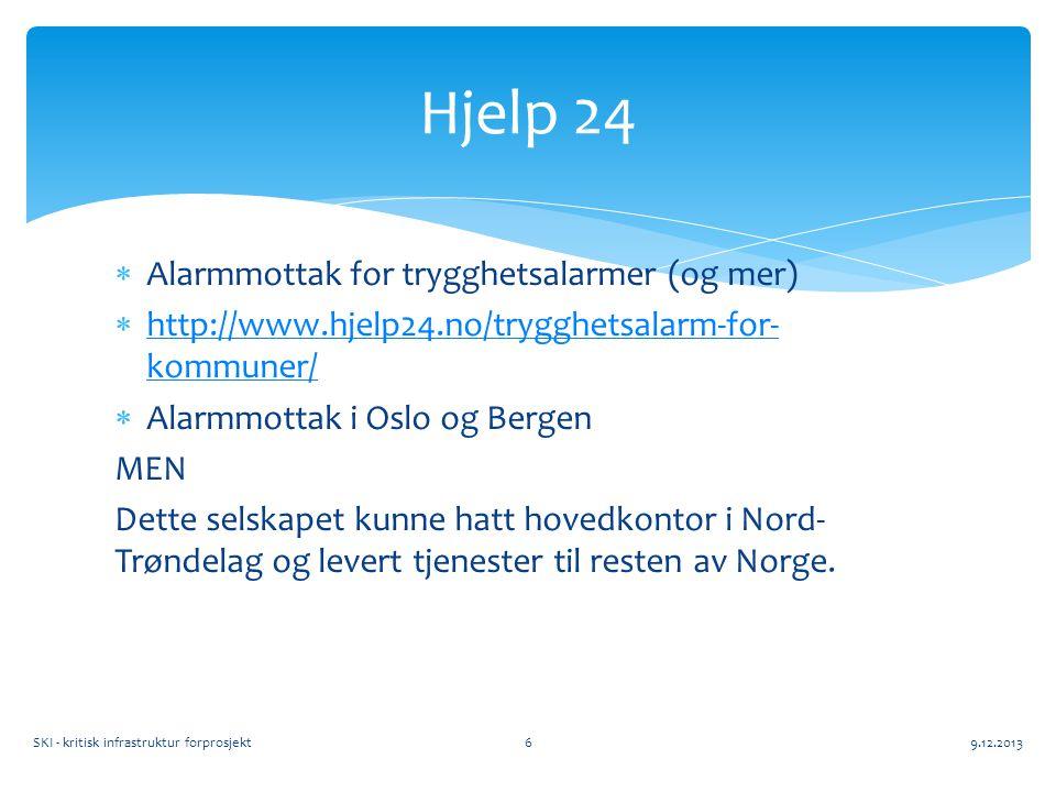  Alarmmottak for trygghetsalarmer (og mer)  http://www.hjelp24.no/trygghetsalarm-for- kommuner/ http://www.hjelp24.no/trygghetsalarm-for- kommuner/  Alarmmottak i Oslo og Bergen MEN Dette selskapet kunne hatt hovedkontor i Nord- Trøndelag og levert tjenester til resten av Norge.