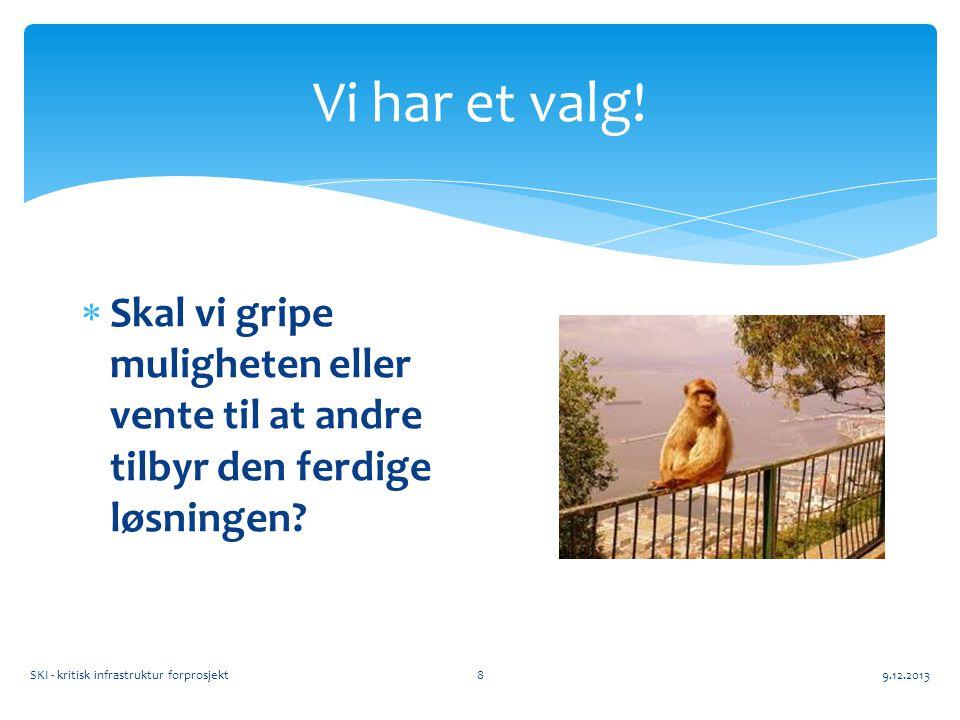 Vi har et valg! 9.12.2013SKI - kritisk infrastruktur forprosjekt8  Skal vi gripe muligheten eller vente til at andre tilbyr den ferdige løsningen?