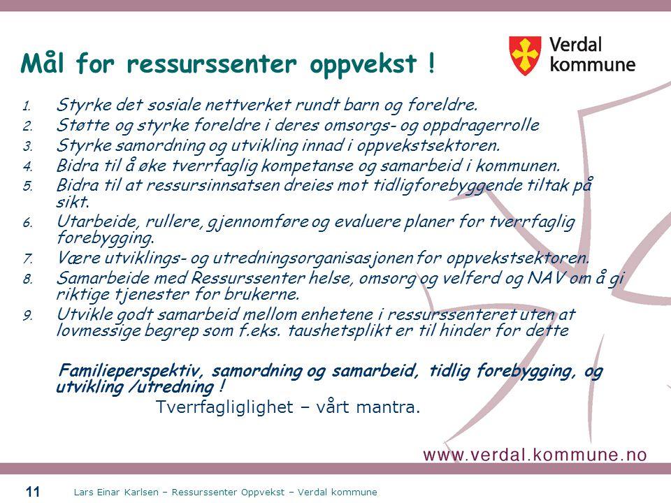 Lars Einar Karlsen – Ressurssenter Oppvekst – Verdal kommune 11 Mål for ressurssenter oppvekst ! 1. Styrke det sosiale nettverket rundt barn og foreld