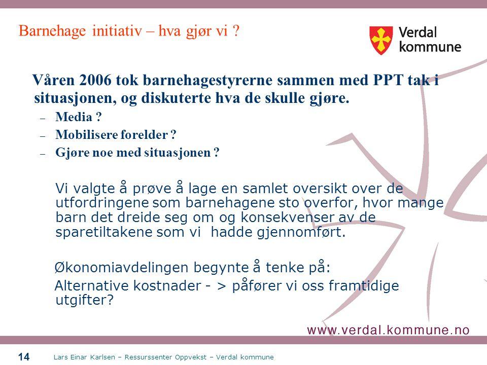 Lars Einar Karlsen – Ressurssenter Oppvekst – Verdal kommune 14 Barnehage initiativ – hva gjør vi ? Våren 2006 tok barnehagestyrerne sammen med PPT ta