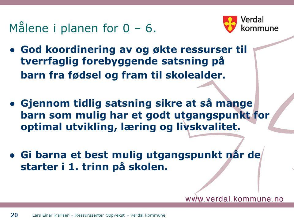 Lars Einar Karlsen – Ressurssenter Oppvekst – Verdal kommune 20 Målene i planen for 0 – 6. God koordinering av og økte ressurser til tverrfaglig foreb