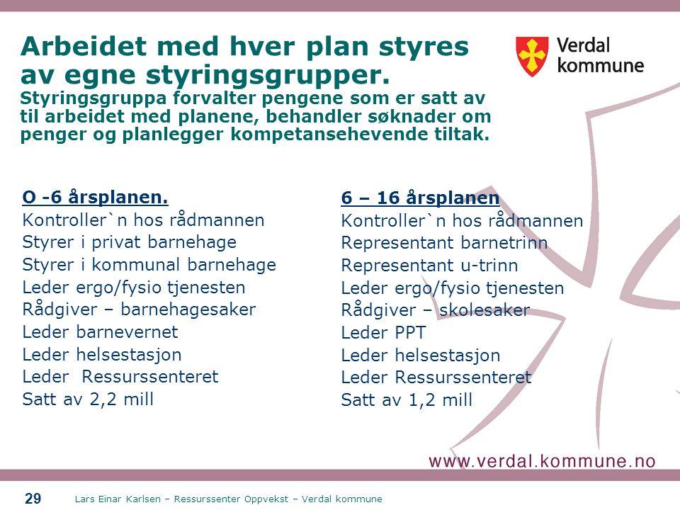 Lars Einar Karlsen – Ressurssenter Oppvekst – Verdal kommune 29 Arbeidet med hver plan styres av egne styringsgrupper. Styringsgruppa forvalter pengen