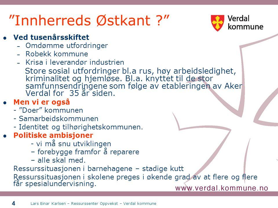 """Lars Einar Karlsen – Ressurssenter Oppvekst – Verdal kommune 4 """"Innherreds Østkant ?"""" Ved tusenårsskiftet – Omdømme utfordringer – Robekk kommune – Kr"""