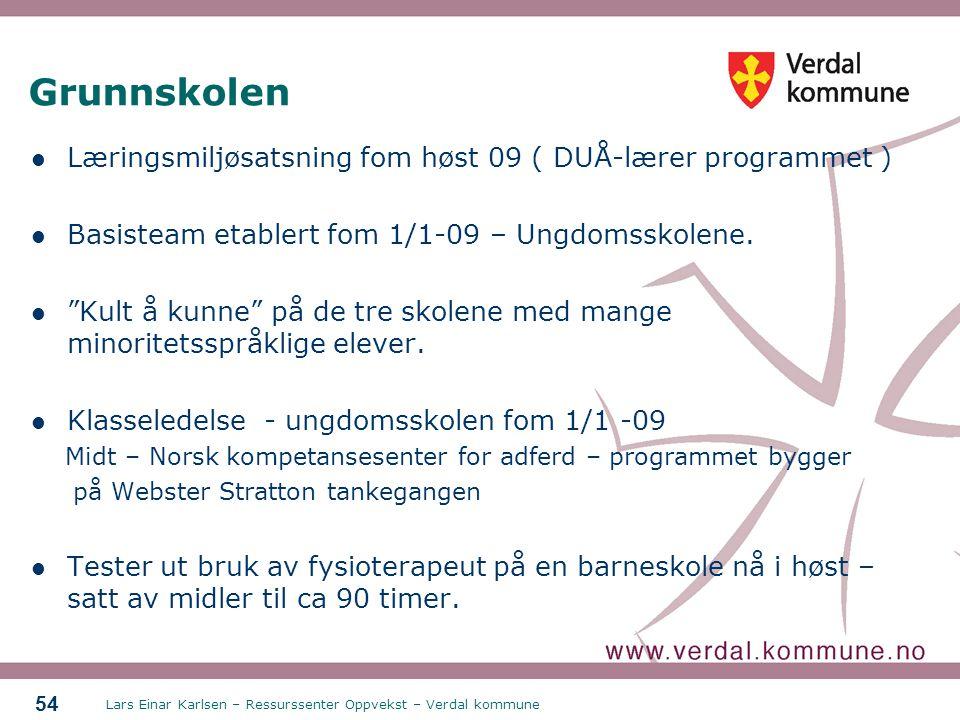 Lars Einar Karlsen – Ressurssenter Oppvekst – Verdal kommune 54 Grunnskolen Læringsmiljøsatsning fom høst 09 ( DUÅ-lærer programmet ) Basisteam etable