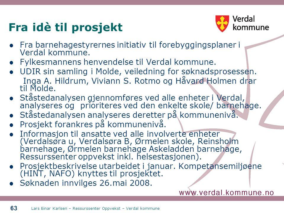 Lars Einar Karlsen – Ressurssenter Oppvekst – Verdal kommune 63 Fra idè til prosjekt Fra barnehagestyrernes initiativ til forebyggingsplaner i Verdal
